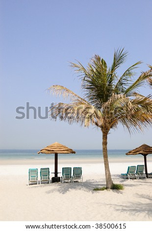 Beach at luxurious hotel, Dubai, United Arab Emirates