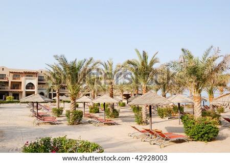 Beach at luxury hotel, Dubai, United Arab Emirates - stock photo