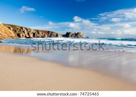 Beach at Porthcurno Cornwall England UK 2011 - stock photo