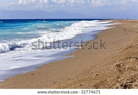 Beach at Rhodes island in Greece - stock photo