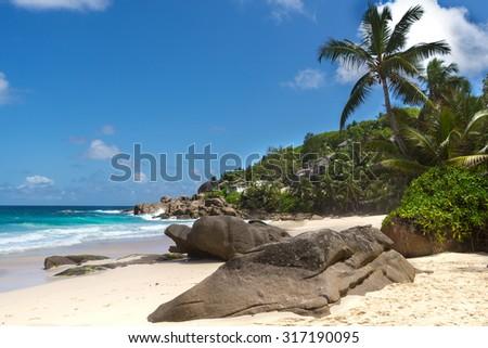 beach at Seychelles  - stock photo