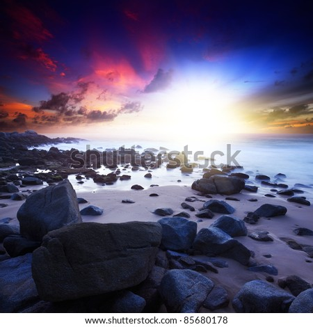 Beach at Singh cape area. Phuket island, Thailand. Long exposure shot. - stock photo