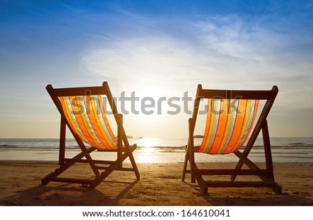 beach at sunset - stock photo