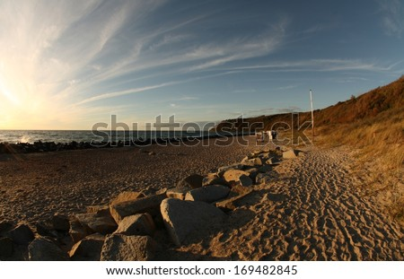 beach at sunset, german island Hiddensee near Kloster - stock photo