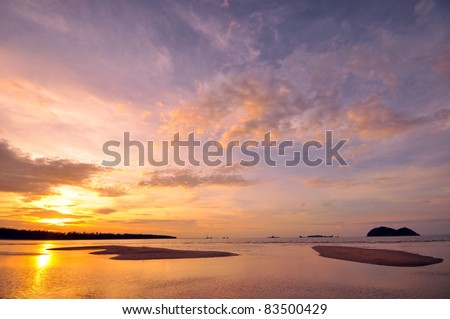 Beach at Sunset on the Island - stock photo