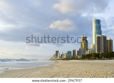 Beach at Surfers Paradise in Gold Coast, Queensland Australia