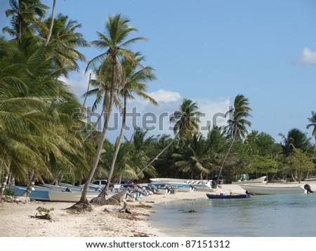 beach at the Dominican Republic, a island of Hispanola wich is a part of the Greater Antilles archipelago in the Carribean region. It contains some boats, beach and palm trees in sunny ambiance - stock photo