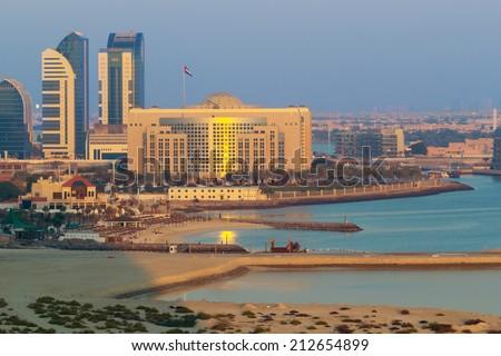 Beach at the Persian Gulf in Abu Dhabi at dusk, UAE - stock photo
