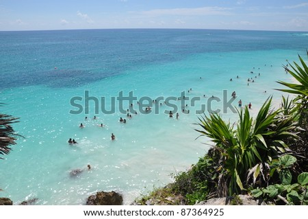 Beach at Tulum Mayan Ruins in Mexico - stock photo