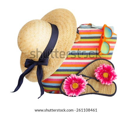 Beach bag, hat and other beach stuff  isolated on white background. - stock photo