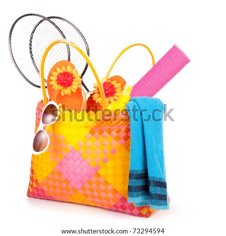 beach bag with towel sunglasses flip-flops .isolated on white - stock photo