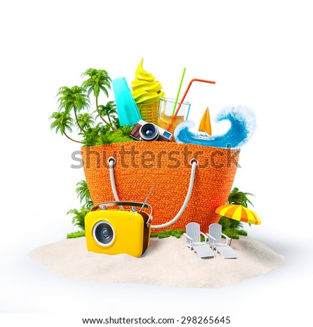 Beach bag with with tropical island inside on  sand. Unusual Travel Background - stock photo