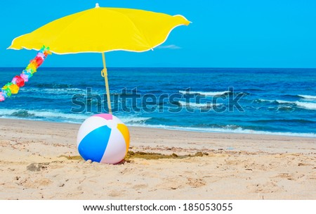 beach ball and hawaiian necklace by the sea
