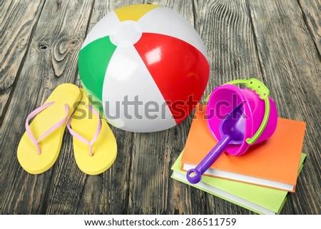 Beach Ball, Bucket, Toy. - stock photo