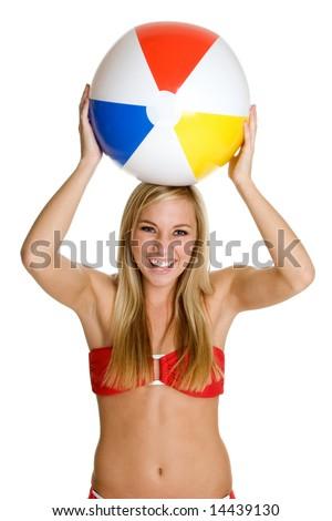 Beach Ball Girl - stock photo