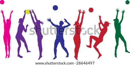 beach ball girls - stock photo