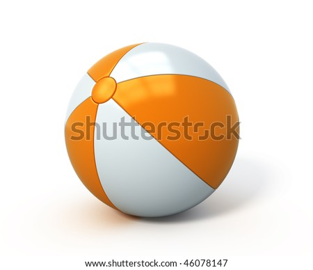 Beach ball isolated - stock photo