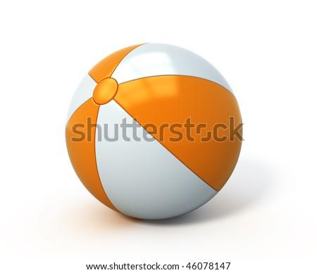 Beach ball isolated - stock photo