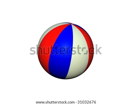 Beach ball isolated on a white background with clipping path - stock photo