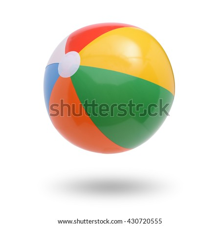Beach ball isolated on white  - stock photo