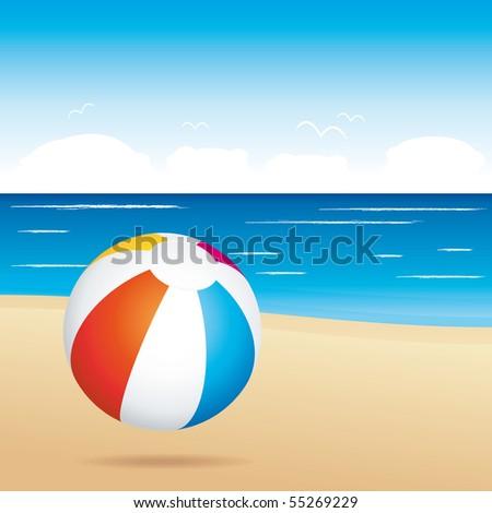 Beach ball on sand. Holiday illustration.. - stock photo