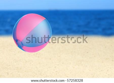 Beach ball on the beach - stock photo