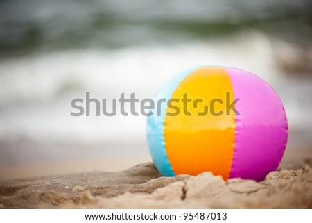 Beach ball on Virginia Beach - stock photo