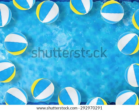 beach balls floating on pool top view with blank space  - stock photo