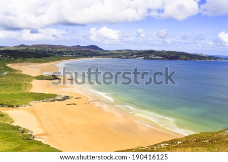 Beach, Ballymacstocker Bay, Portsalon beach, County Donegal in Ireland - stock photo