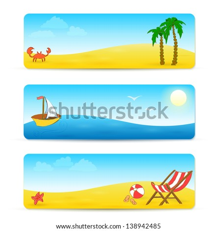 beach banner with hand drawn design. Raster copy of vector illustration - stock photo
