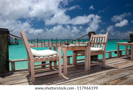 Beach bar in a Kuramathi Island. Maldives, Rasdhoo Atoll - stock photo