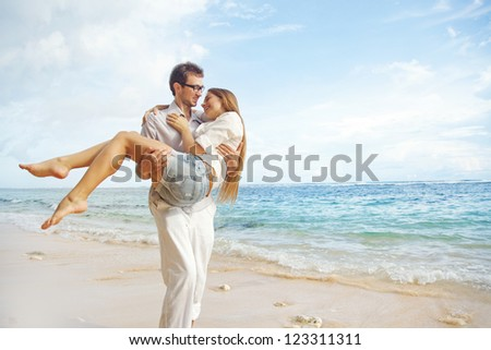 Beach, beautiful couple