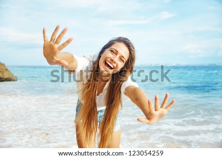 Beach, beautiful woman - stock photo