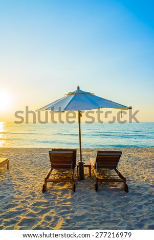 Beach bed with sun flare twilight time