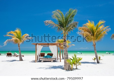Beach beds among palm trees at perfect tropical coast - stock photo