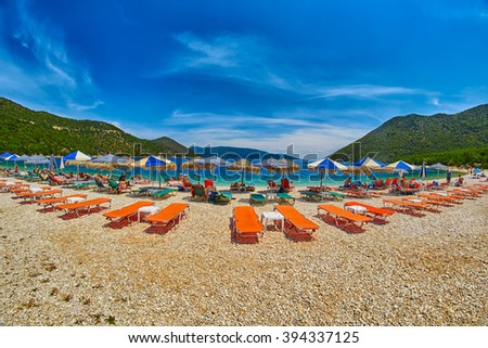 Beach Beds and Umbrellas in Antisamos Beach, Kefalonia Island, Greece