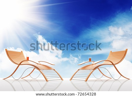 Beach bench on a background of the sky. 3d - stock photo