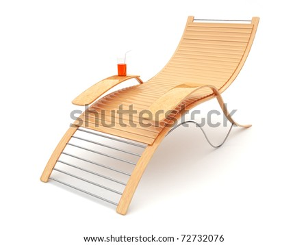 Beach bench on a white background. 3d - stock photo