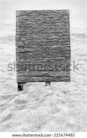 beach board mono  -- illustration based on own photo image - stock photo