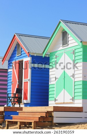 Beach boxes at Brighton Beach, Melbourne, Australia - stock photo