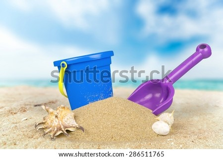Beach, Bucket, Sand. - stock photo