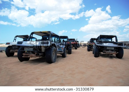 Beach Buggies parked up in Jericoacoara, Brazil