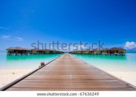 Beach bungalow - stock photo