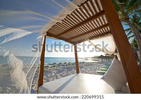 Beach cabana in Cancun Mexico - stock photo