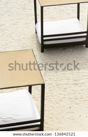 Beach cabanas at the vacation resort in Mexico.