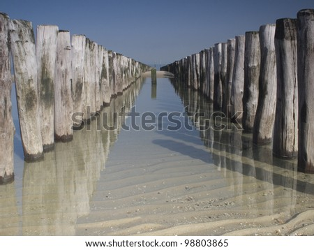 Beach Cams on the beach of Breskens in the Netherlands - stock photo
