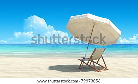 Beach chair and umbrella on idyllic tropical sand beach. No noise, clean, extremely detailed 3d render. Concept for rest, relaxation, holidays, spa, resort design. - stock photo