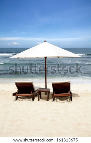 Beach Chair at Bali Island, Indonesia - stock photo