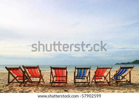 Beach Chair at Samui Island in Thailand - stock photo