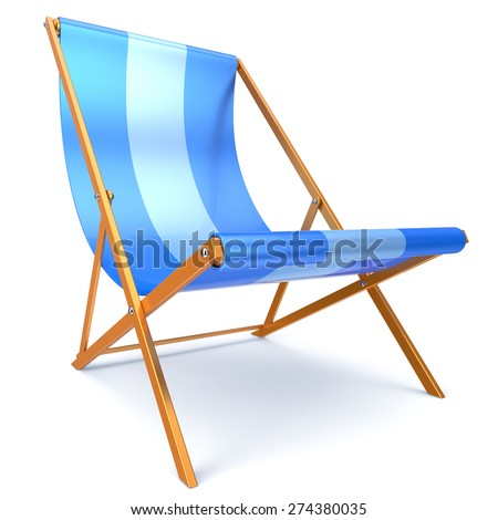 Beach chair blue chaise longue nobody relaxation holidays spa resort summer sun tropical sunbathing travel leisure comfort outdoor concept. 3d render isolated on white - stock photo